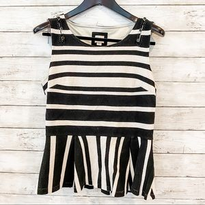Anthropologie Black White Peplum Fitted Top